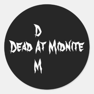 Dead At Midnite, D, M Round Sticker