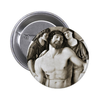 Dead Christ Between Two Angels by Giovanni Bellini 2 Inch Round Button