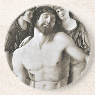 Dead Christ Between Two Angels by Giovanni Bellini Drink Coaster