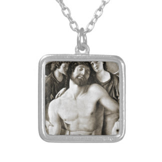 Dead Christ Between Two Angels by Giovanni Bellini Silver Plated Necklace