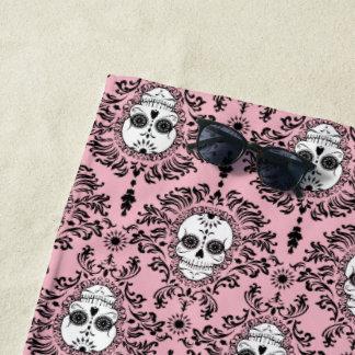 Dead Damask Black on Pink Sugar Skull Pattern Beach Towel