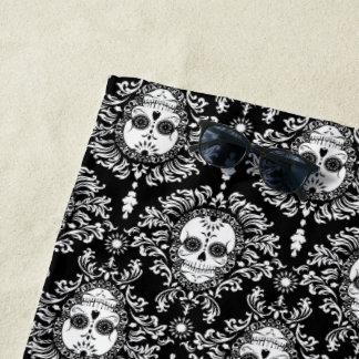 Dead Damask Black & White Sugar Skulls Pattern Beach Towel