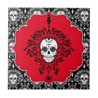 Dead Damask - Chic Framed Sugar Skull Tile