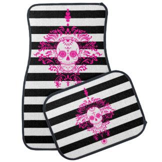 Dead Damask - Chic Sugar Skull on Stripes Car Liners