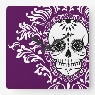 Dead Damask - Chic Sugar Skull Wall Clock