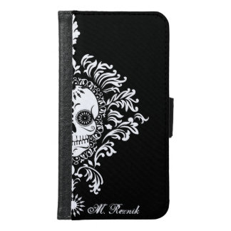Dead Damask - Chic Sugar Skulls Custom Text Samsung Galaxy S6 Wallet Case