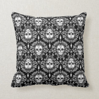 Dead Damask - Chic Sugar Skulls Throw Pillow