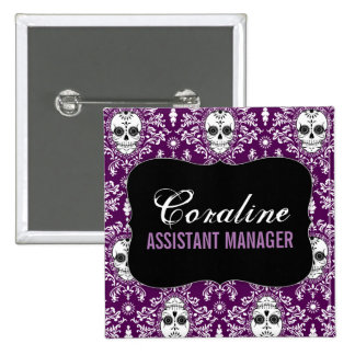 Dead Damask - Custom Sugar Skulls Name Badge 2 Inch Square Button