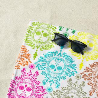 Dead Damask Festive Colors Sugar Skull Pattern Beach Towel