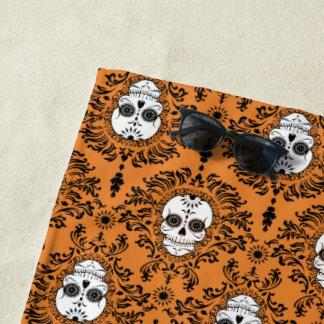 Dead Damask Halloween Sugar Skull Pattern Beach Towel