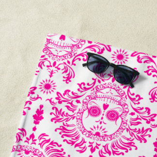 Dead Damask Hot Pink Sugar Skulls Beach Towel