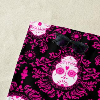 Dead Damask Pink on Black Sugar Skulls Beach Towel