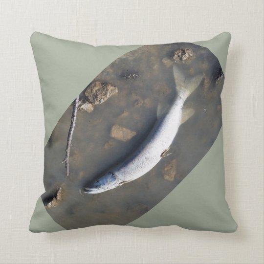 Dead fish don't swim throw pillow