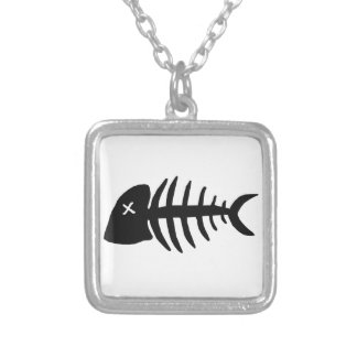 dead fish skeleton silver plated necklace