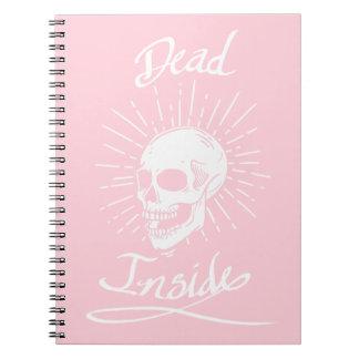 Dead Inside White & Pink NotePad Spiral Notebook