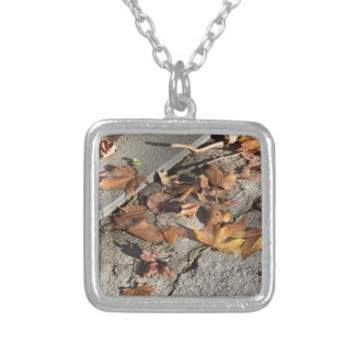 Dead leaves lying on the ground in the fall silver plated necklace