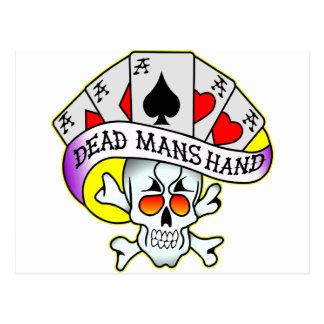 Dead Mans Hand Old School Tattoo Postcard