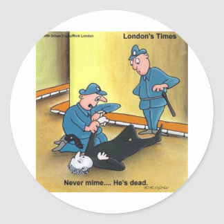 Dead Mime Funny Tees Mugs Cards Gifts Etc Round Sticker