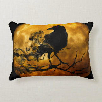 Dead moon crow accent pillow