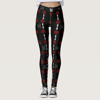 Dead Roses (Black w/ Red) Leggings