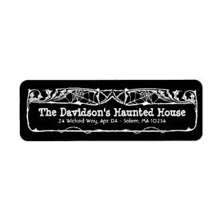Dead Roses Halloween Address Label on Black