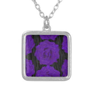dead roses silver plated necklace