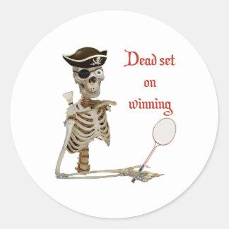 Dead Set Badminton Pirate Classic Round Sticker