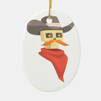 Dead Sheriff Head And Star Pin Drawing Isolated On Ceramic Ornament