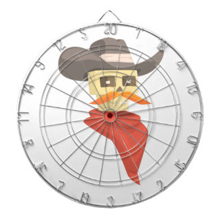 Dead Sheriff Head And Star Pin Drawing Isolated On Dartboard
