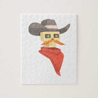 Dead Sheriff Head And Star Pin Drawing Isolated On Jigsaw Puzzle