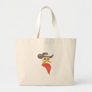 Dead Sheriff Head And Star Pin Drawing Isolated On Large Tote Bag