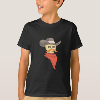Dead Sheriff Head And Star Pin Drawing Isolated On T-Shirt