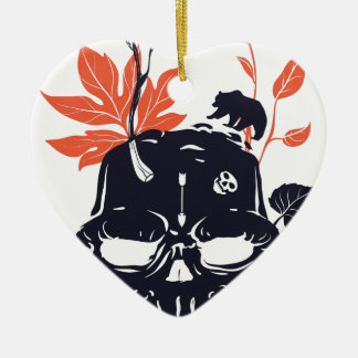 dead skull and bear ceramic ornament