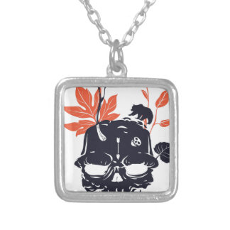 dead skull and bear silver plated necklace