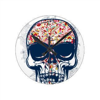 dead skull zombie colored design clock