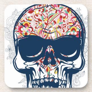dead skull zombie colored design coaster