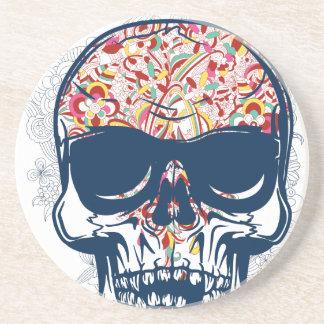 dead skull zombie colored design coasters