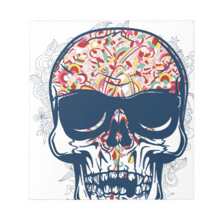 dead skull zombie colored design notepad