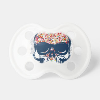 dead skull zombie colored design pacifier