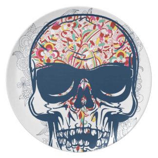 dead skull zombie colored design plate