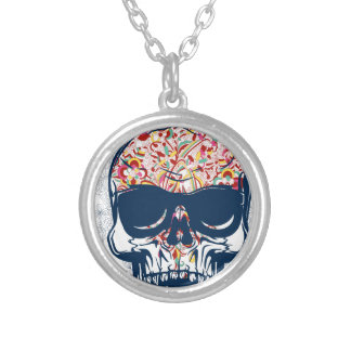 dead skull zombie colored design silver plated necklace