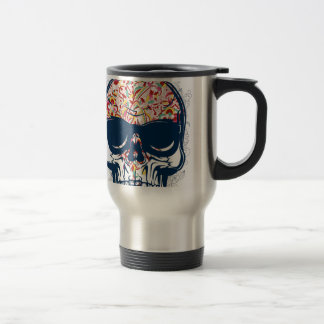 dead skull zombie colored design travel mug