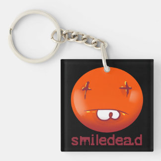 dead smiley face funny cartoon keychain