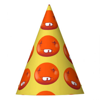 dead smiley face funny handdrawn cartoon party hat