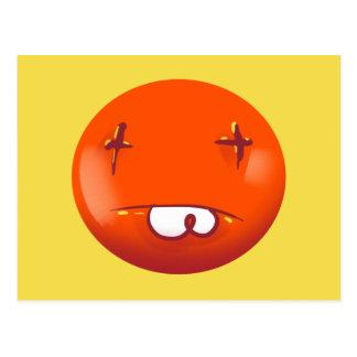 dead smiley face funny handdrawn cartoon postcard