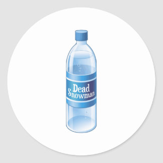 Dead Snowman Melted Bottled Water Classic Round Sticker