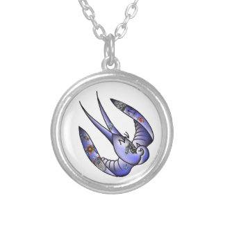 dead tattooed traditional bluebird silver plated necklace