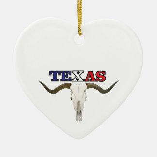 dead texas longhorn ceramic ornament