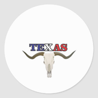 dead texas longhorn classic round sticker