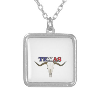 dead texas longhorn silver plated necklace
